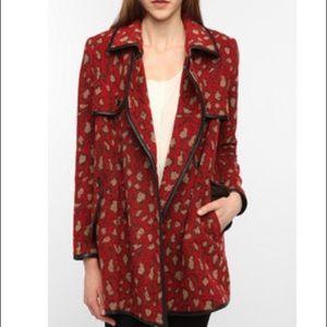 DV Dolce Vita Large wool red & brown leopard coat